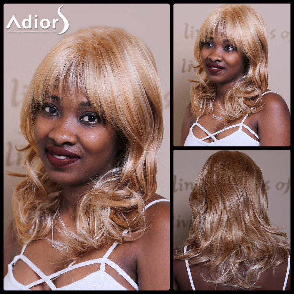 Adiors Long Wavy Layered Fluffy Full Bang Synthetic Wig - COLORMIX