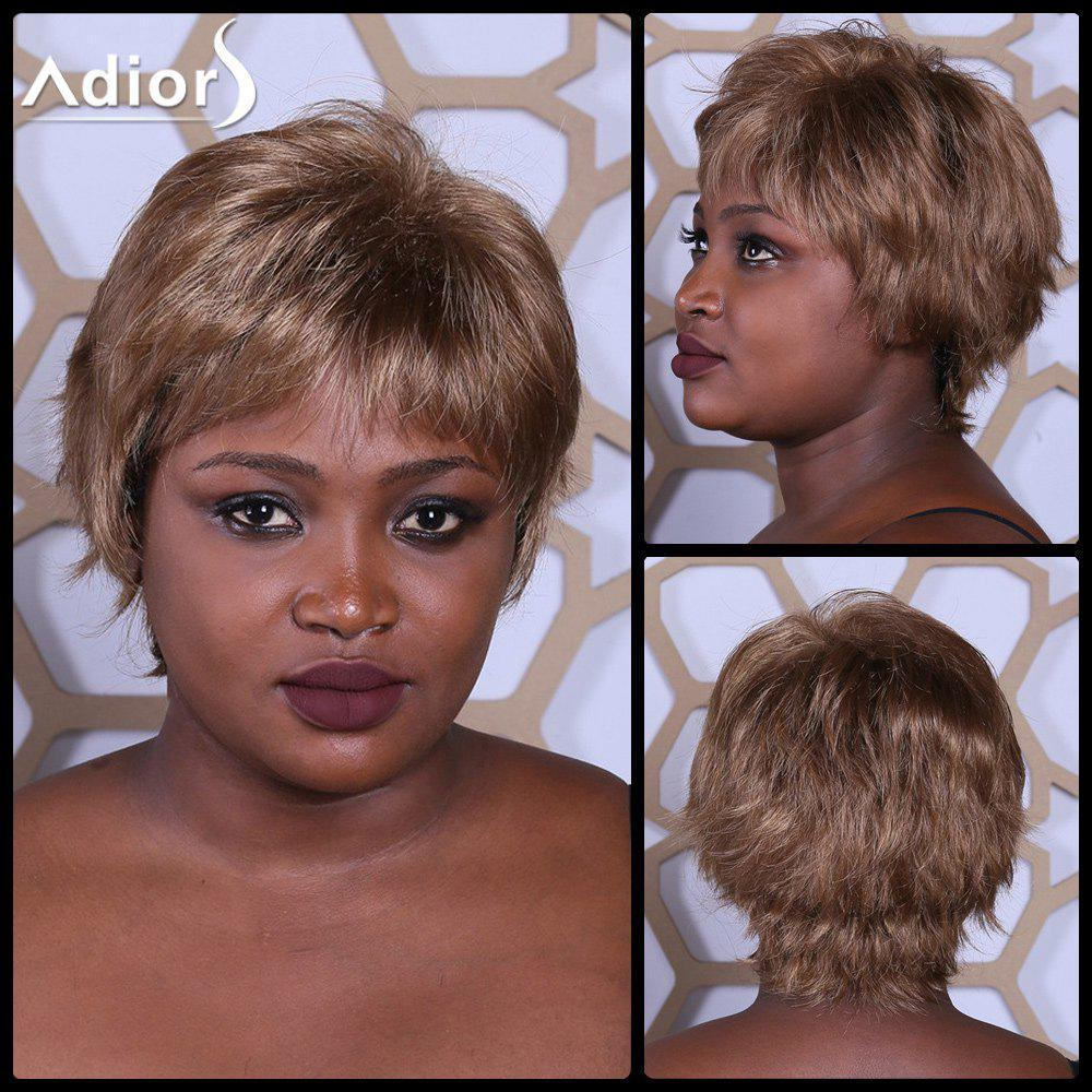 Adiors Short Straight Fluffy Neat Bang Synthetic Wig - COLORMIX