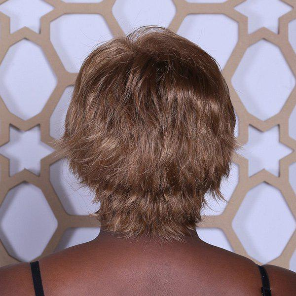 Mode synthétique Or Lisse Court capless perruque de Brown Neat Bang charme Fluffy femmes - multicolorcolore