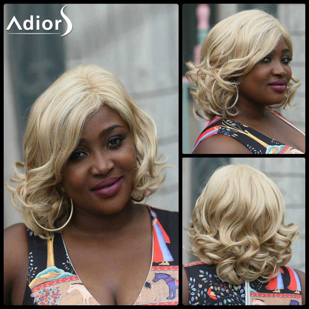 Adiors Wavy Medium Side Part Fluffy Synthetic Wig - LIGHT BLONDE
