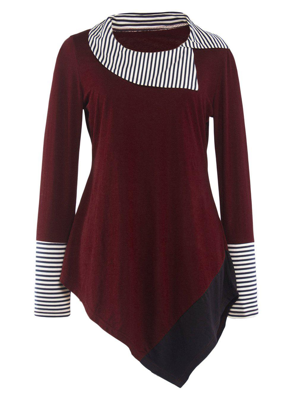 Striped Hem Asymmetric long T-shirt - Rouge vineux S