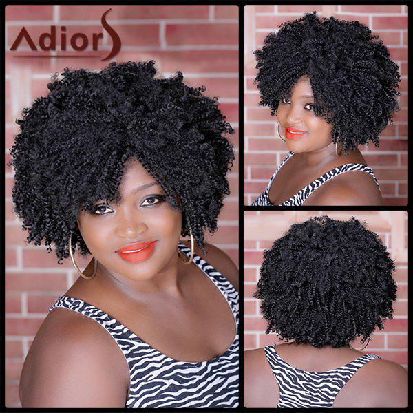 Vogue Black Short Capless Shaggy Afro Curly Heat Resistant Synthetic Wig For Women - BLACK BROWN