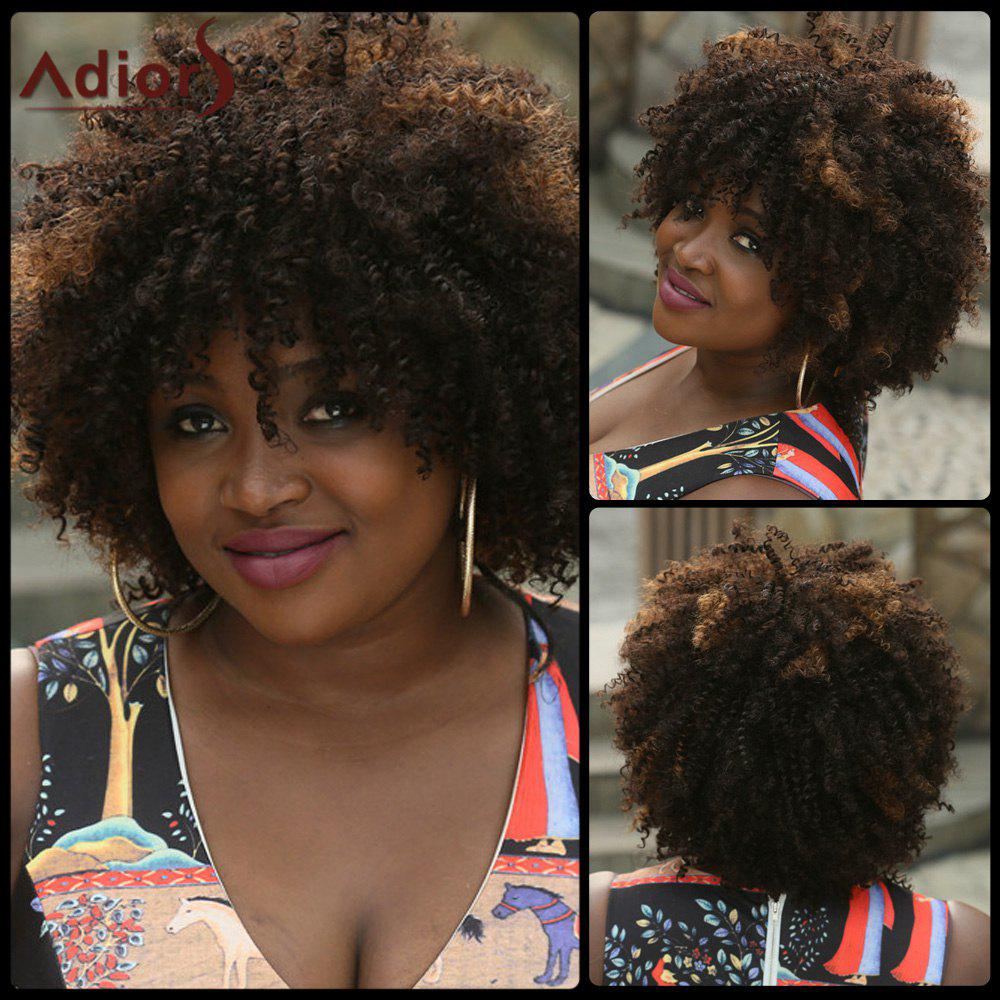 Fluffy Afro Curly Fashion Black Brown Mixed Capless Synthetic Wig For Women - COLORMIX