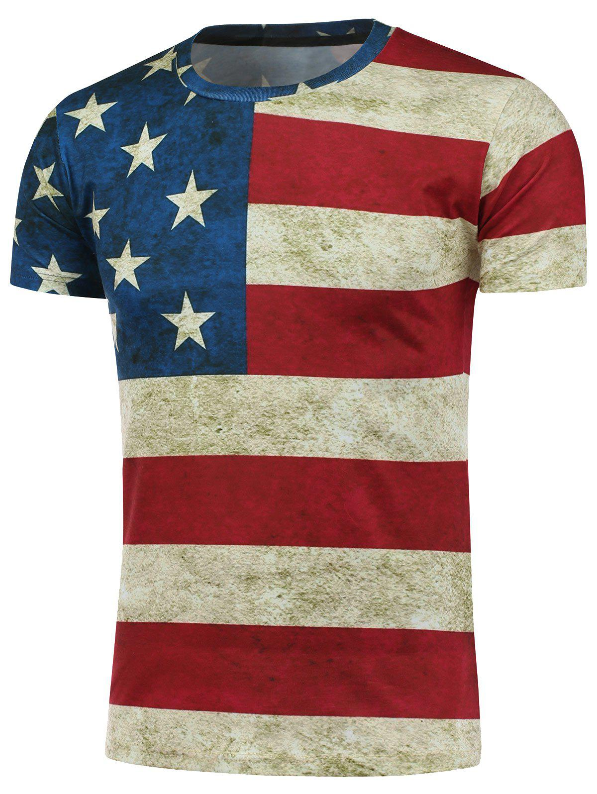 Crew Neck Short Sleeve Distressed American Flag Print T-Shirt - COLORMIX XL
