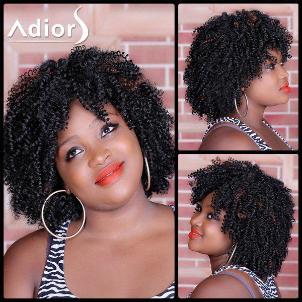Stylish Medium Deep Brown Capless Shaggy Afro Curly Synthetic Wig For Women - RED MIXED BLACK