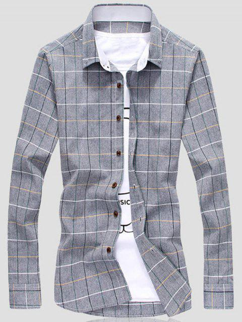 Button Front Grid Shirt - GRAY 3XL