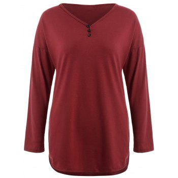 Plus Size Long Sleeve Button Design Tee