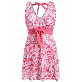 Sweet Women's V-Neck Floral Print Bowknot Embellished Swimsuit