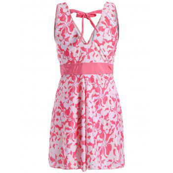 Sweet Women's V-Neck Floral Print Bowknot Embellished Swimsuit - PINK 3XL