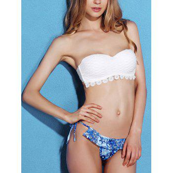 Push Up Bikini Top and Printed String Bottoms - WHITE L