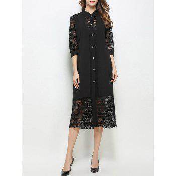 Lace Insert Button Down Shirt Dress With Sundress