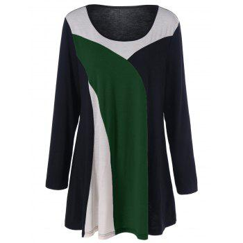 Color Block Longline Plus Size T-Shirt