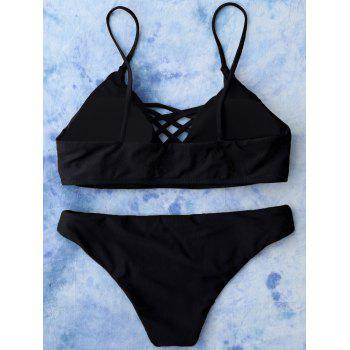 Lace Up Cami Bikini Swimwear - BLACK S