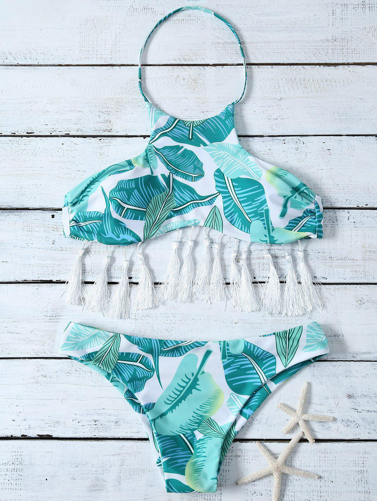 Halter Leaf Print Tassel Bikini Set leaf print tassel table runner