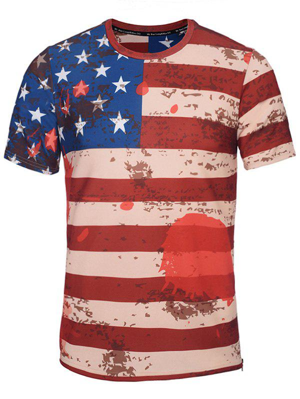 Crew Neck Distressed American Flag Printed T-Shirt crew neck royal printed t shirt