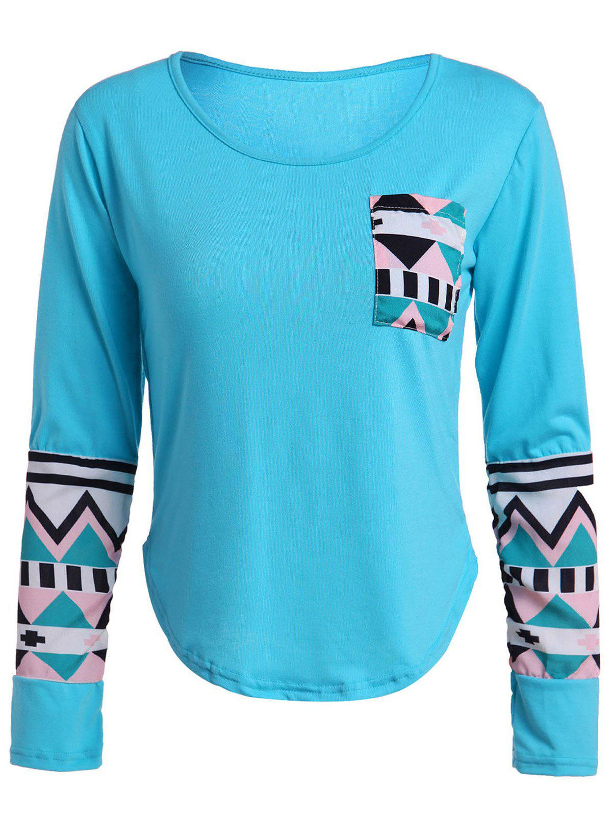Geometric Color Block Pocket T-Shirt - BLUE L