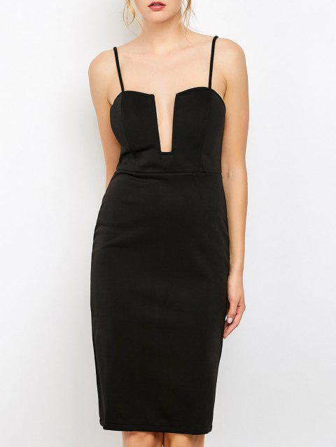 Bodycon Cami Party Fitted Knee Length Club Dress - BLACK M