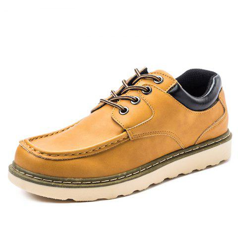 Lace Up Moc Toe Casual Shoes - YELLOW 39