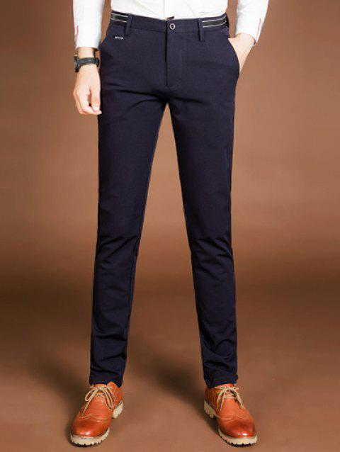 Zipper Fly Mid Pants Rise Pocket - Cadetblue 29