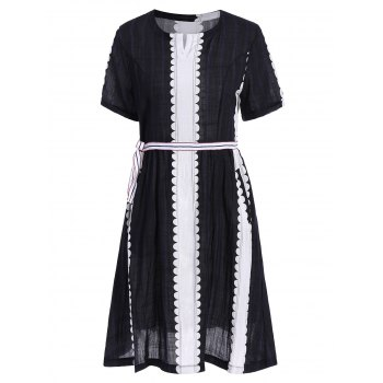 Scalloped Belted Striped Swing Dress
