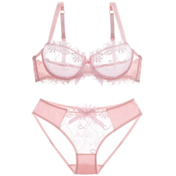 See-Through Embroidered Bowknot Bra Set