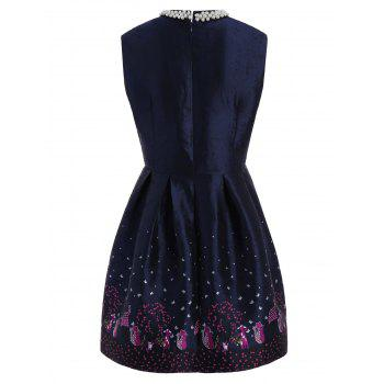 High Waist Beaded Embroidered Dress - PURPLISH BLUE M