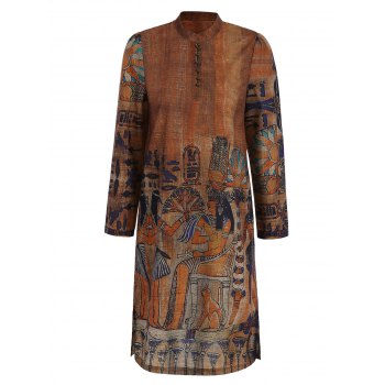 Long Sleeve Printed Button Design Dress