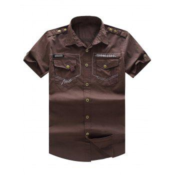 Short Sleeve Military Shirt with Pockets