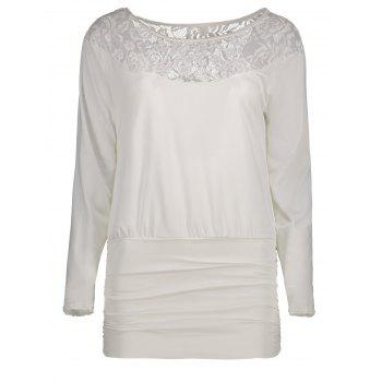 Lace Panel Ruched T-Shirt