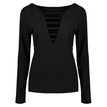Long Sleeve Cut Out Fitted Tee