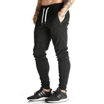Slim Drawstring Waist Jogger Pants - BLACK M