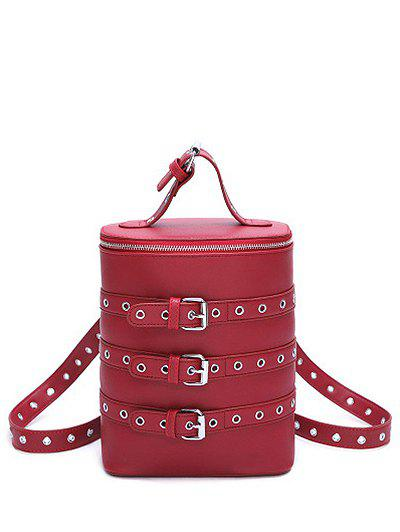 Convertible Eyelets Buckle Straps Backpack - WINE RED