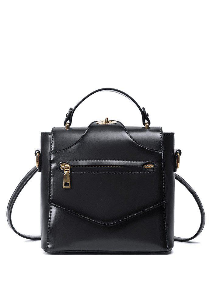 PU Leather Convertible Backpack - BLACK