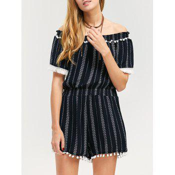 Off-The-Shoulder Striped Fringed Romper
