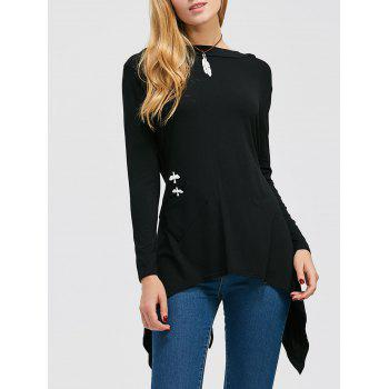 Long Sleeve Hooded Asymmetric Hem Top
