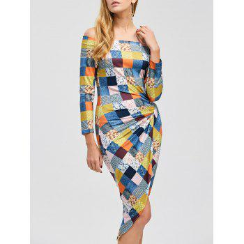 Asymmetrical Color Block Off The Shoulder Dress