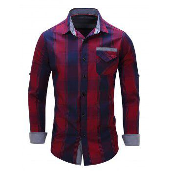 Long Sleeve Checked Shirt with Flap Pocket