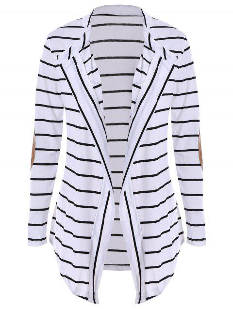 Chic Collarless Long Sleeve Striped Spliced Women's Cardigan - WHITE S