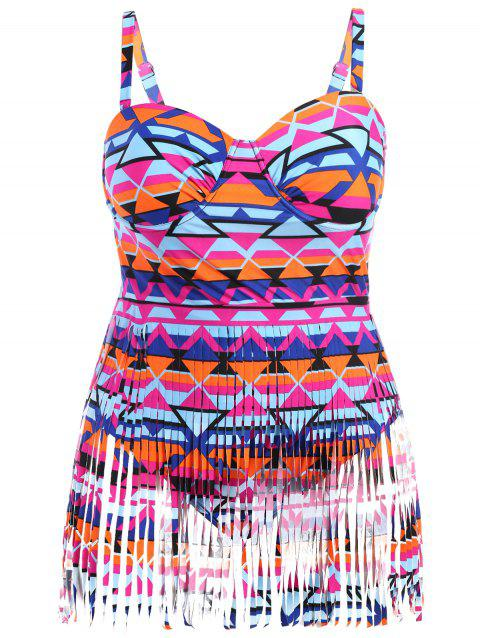 Plus Size Cut Out Fringed Swimwear - COLORFUL 2XL