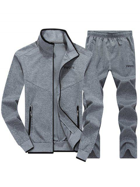 Zip Up Graphic Jacket and Sweatpants - LIGHT GRAY 2XL