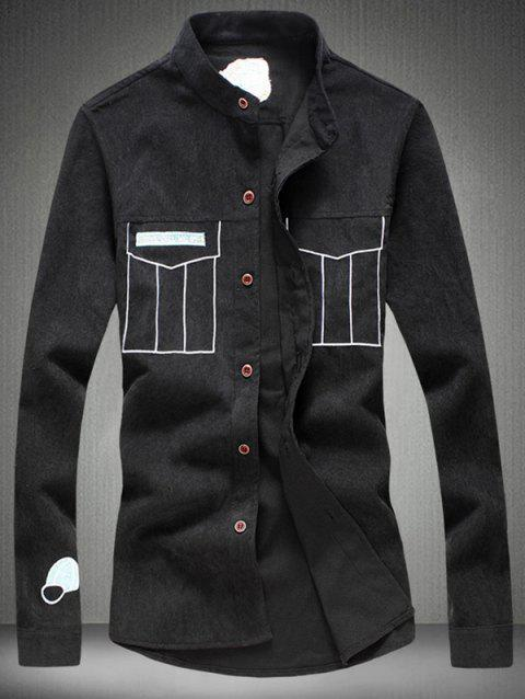 Grandad Collar Embroidery Corduroy Shirt - BLACK 2XL