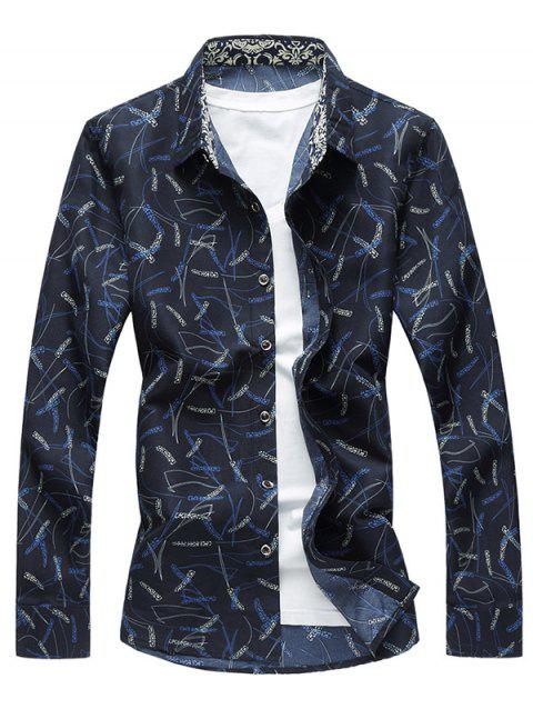 Plant Pattern Long Sleeve Shirt - CADETBLUE 3XL