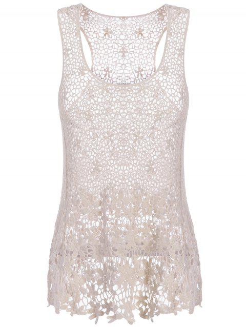 Sweet Women's U-Neck Sleeveless Solid Color Hollow Out Lace Tank Top - OFF WHITE ONE SIZE(FIT SIZE XS TO M)
