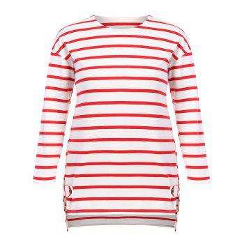 Buy Plus Size Side Slit Striped Longline T-Shirt RED STRIPE