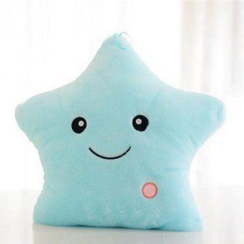 Smilling Star Shape Variable Color Luminescence Pillow - LIGHT BLUE