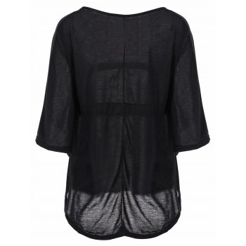 Stylish Women's Plunging Neckline Solid Color Loose-Fitting 1/2 Sleeve T-Shirt - BLACK M