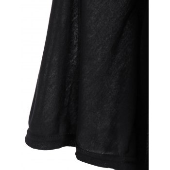 Stylish Women's Plunging Neckline Solid Color Loose-Fitting 1/2 Sleeve T-Shirt - BLACK BLACK