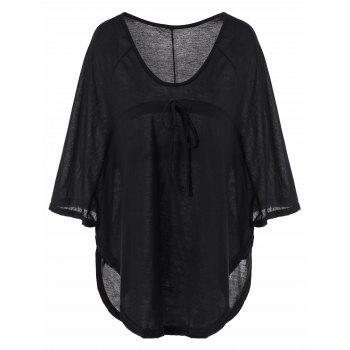 Stylish Women's Plunging Neckline Solid Color Loose-Fitting 1/2 Sleeve T-Shirt