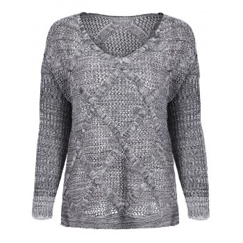 Casual Style V-Neck Acrylic Hollow Out Long Sleeve Women's Sweater - LIGHT GRAY ONE SIZE