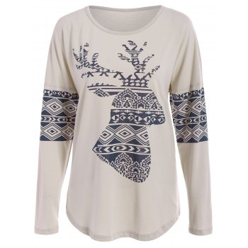Charming Scoop Neck Long Sleeve Elk Printed Christmas T-Shirt For Women
